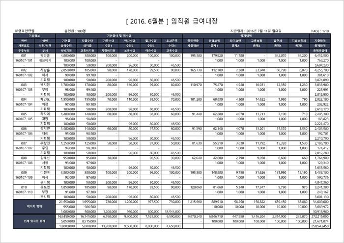 행복한연필 엑셀 급여대장 2016-2 급여대장